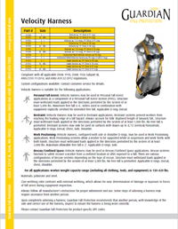 Velocity Harness Specification Sheet